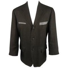 GIULIANO FUJIWARA 36 Black & Gray Linen Notch Lapel Sport Coat