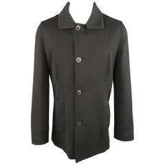 MAISON MARTIN MARGIELA M Black Wool Blend Knit Collar Coat