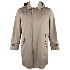 LORO PIANA L Khaki Detachable Hood Storm System Rain Coat