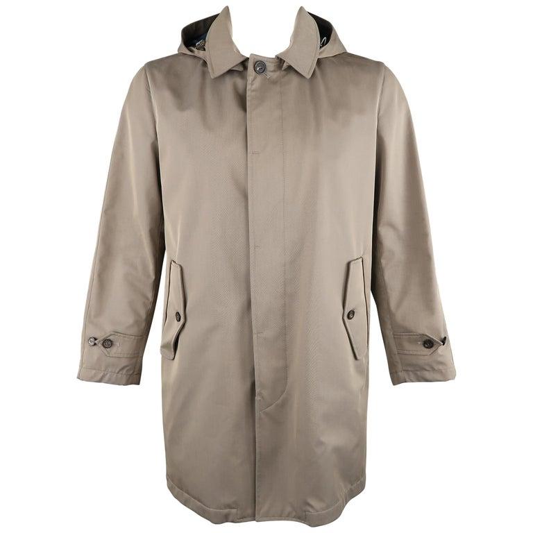 LORO PIANA L Khaki Detachable Hood Storm System Rain Coat For Sale
