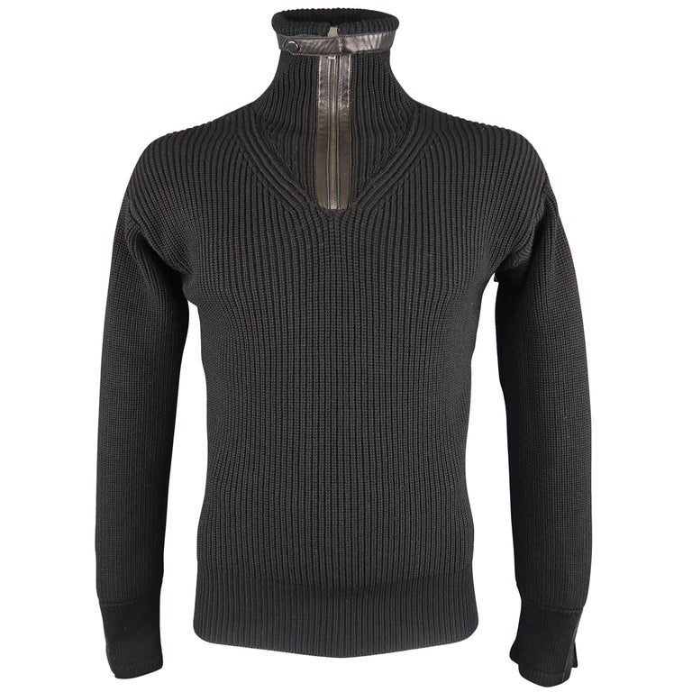 1ebc1c65c4b GUCCI Size L Black Ribbed Knit Wool   Leather Zip Turtleneck Sweater For  Sale