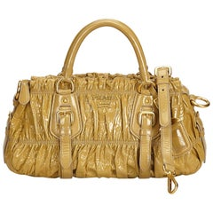 Prada Brown Vernice Gaufre Satchel