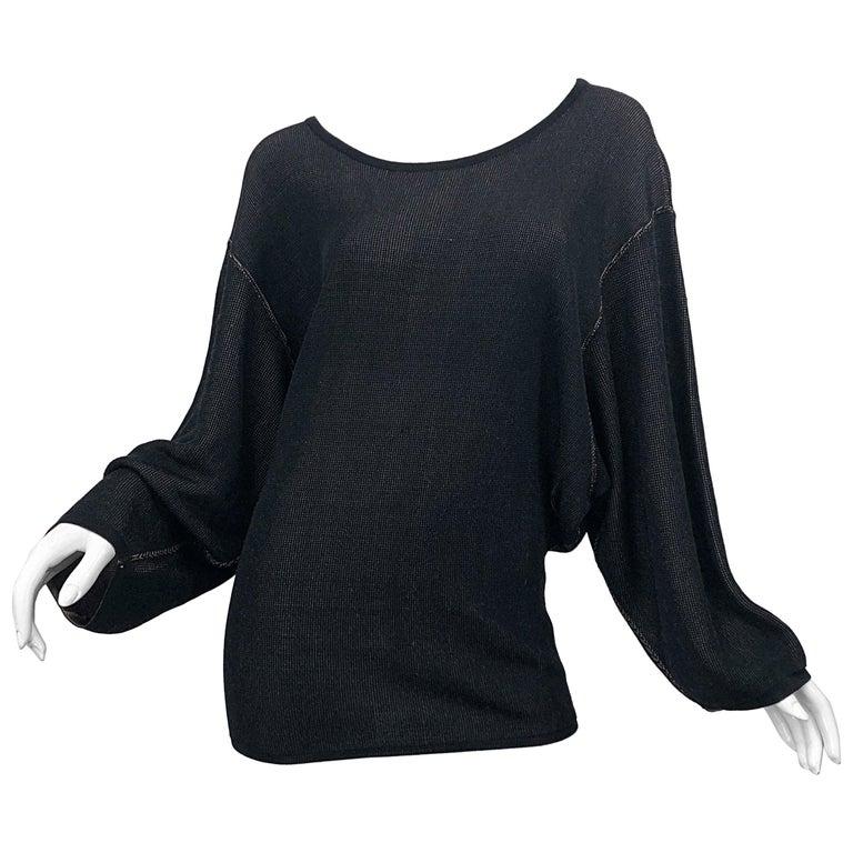 Vintage Azzedine Alaia 1980s  Black + Nude Viscose 80s Mini Sweater Dress Tunic For Sale
