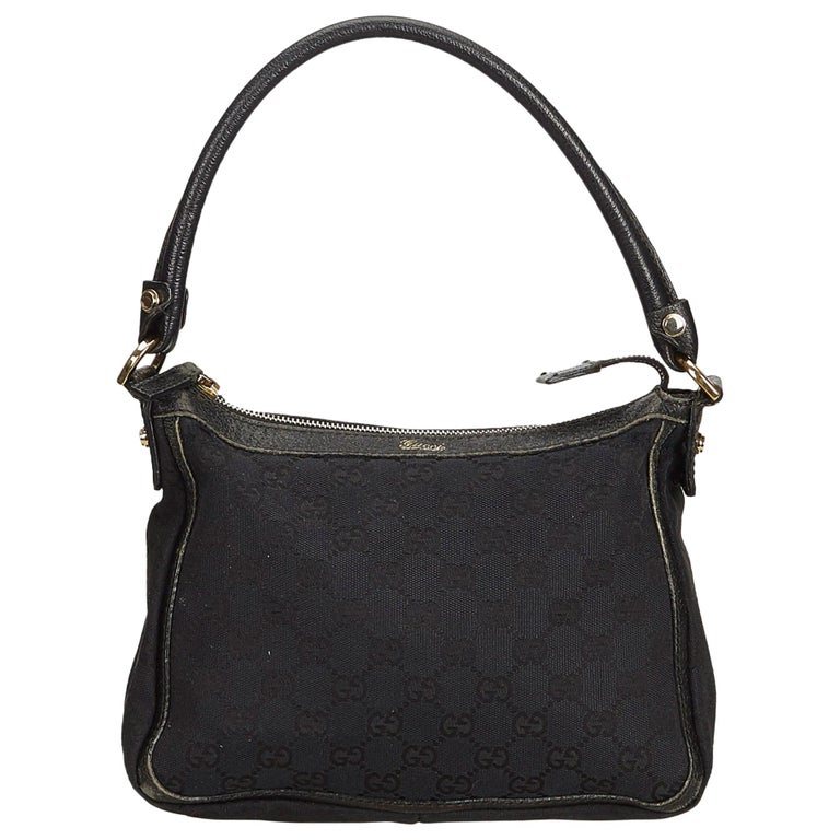 f1a2aeab1df363 Gucci Black GG Jacquard Shoulder Bag at 1stdibs