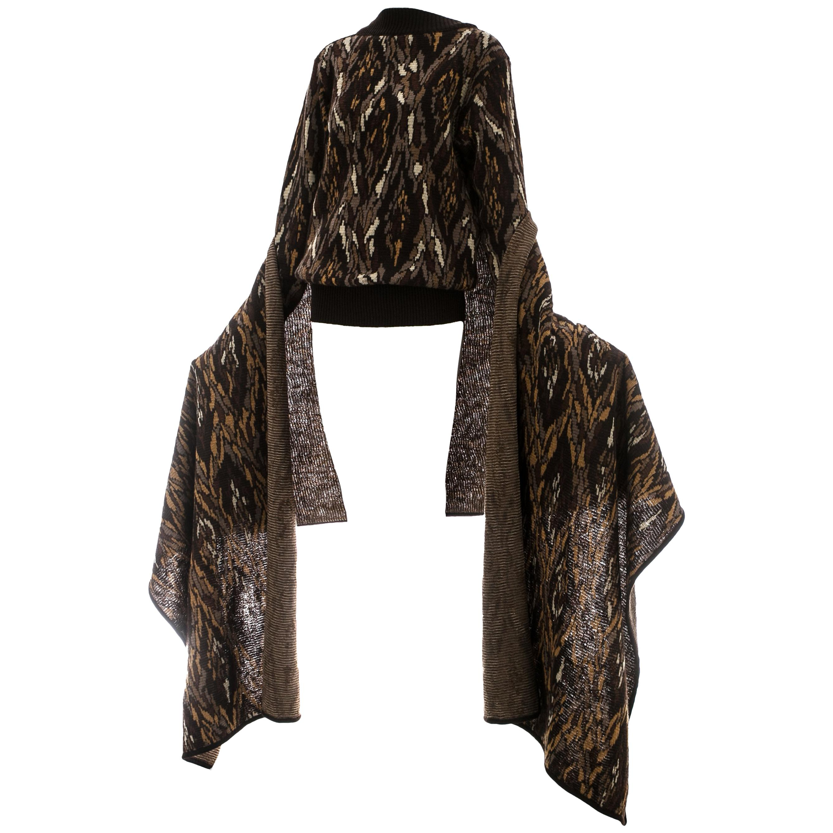 Yves Saint Laurent brown wool sweater with matching large scarf, c. 1980s