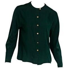 Green Vintage Chanel Silk Blouse
