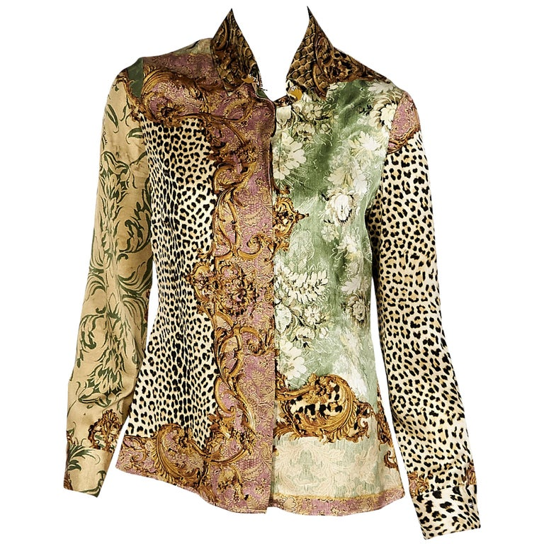 4ffc073e03138 Multicolor Roberto Cavalli Printed Silk Blouse For Sale at 1stdibs