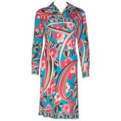 Pucci 1960s Silk Jersey Geometric Floral Dress