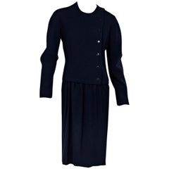 Navy Blue Vintage Hermes Long-Sleeve Wool Dress