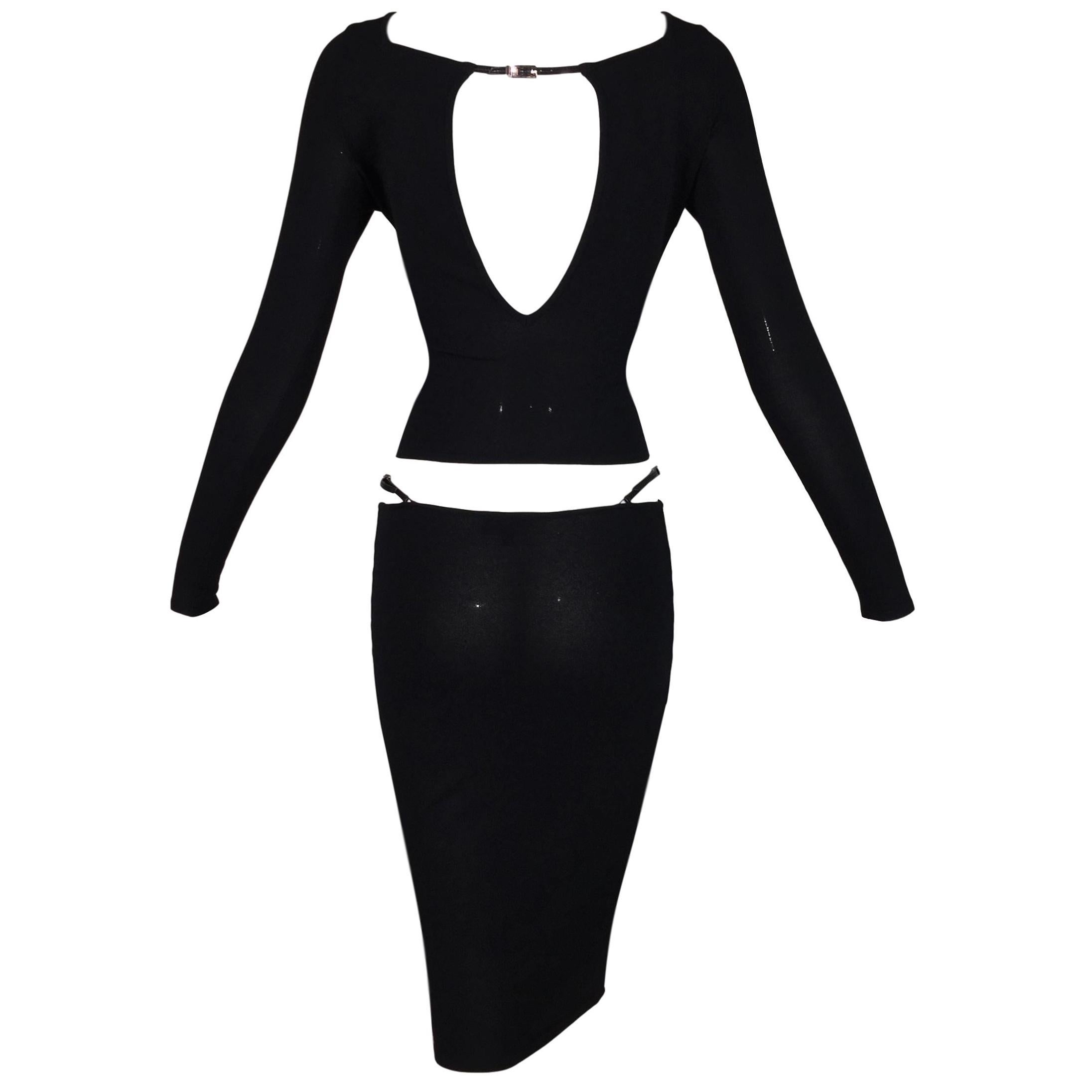 S/S 1998 Gucci Tom Ford Runway Black Knit Strappy Top & Skirt Set