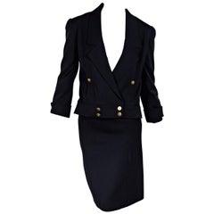 Navy Blue Vintage Chanel Wool Skirt Suit Set