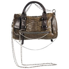 Brown Chloe Snakeskin Crossbody Bag