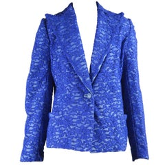 Gianni Versace Blue Lace and Leather Blazer Jacket