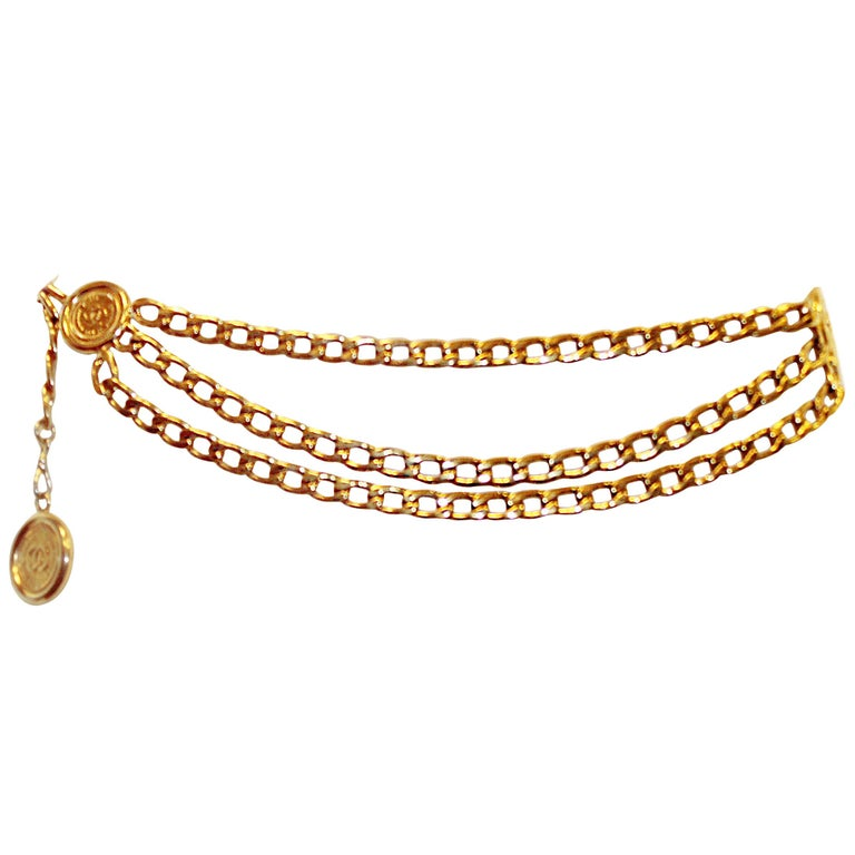 Chanel 31 Rue Cambon Three Coins Chain Link Belt From The 1980's  1