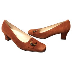New 1990s Salvatore Ferragamo Size 6.5 Light Brown Suede Low Heels Vintage Shoes