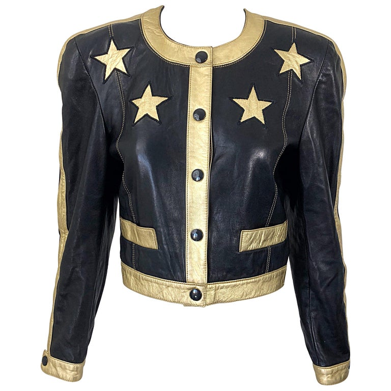 Documented Escada 1990s Black + Gold Leather Stars Vintage 90s Cropped Jacket 1