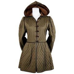 1976 YVES SAINT LAURENT Russian collection quilted cotton coat with leather trim