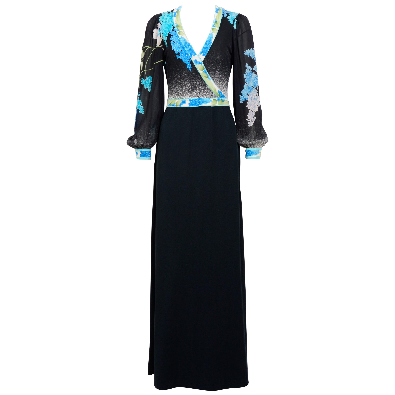 Leonard vintage 1970s signed 100% black silk jersey dress