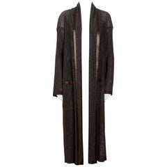 Issey Miyake vintage 1990s beautiful chocolate brown long coat and trousers set