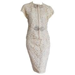 VALENTINO Haute Couture Swarovski Diamonds Embroidered Lace Beige Suit - Unworn