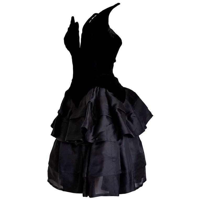 Valentino Haute Couture Velvet Corsage Silk Flounced Gown Dress
