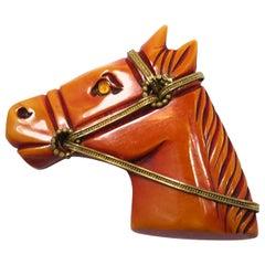 Vintage Bakelit Pferde Brosche