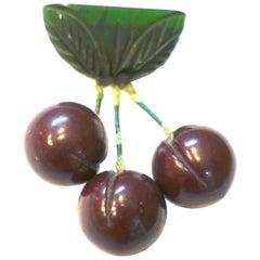 Vintage Bakelite Grapes Brooch