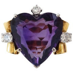 1940s 14K Yellow Gold Amethyst Heart Ring