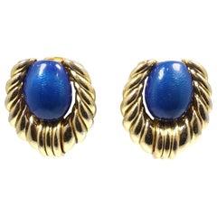 Vintage Signed Orena Paris Faux Lapis Gold Tone Earrings