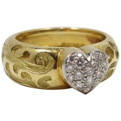 Vintage 1/2ct Diamonds Heart, 18kt Gold Ring, Sz 7