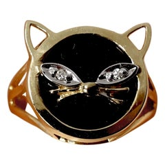 Diamonds, Onyx & 14kt Gold Cat Ring, Sz 6.25