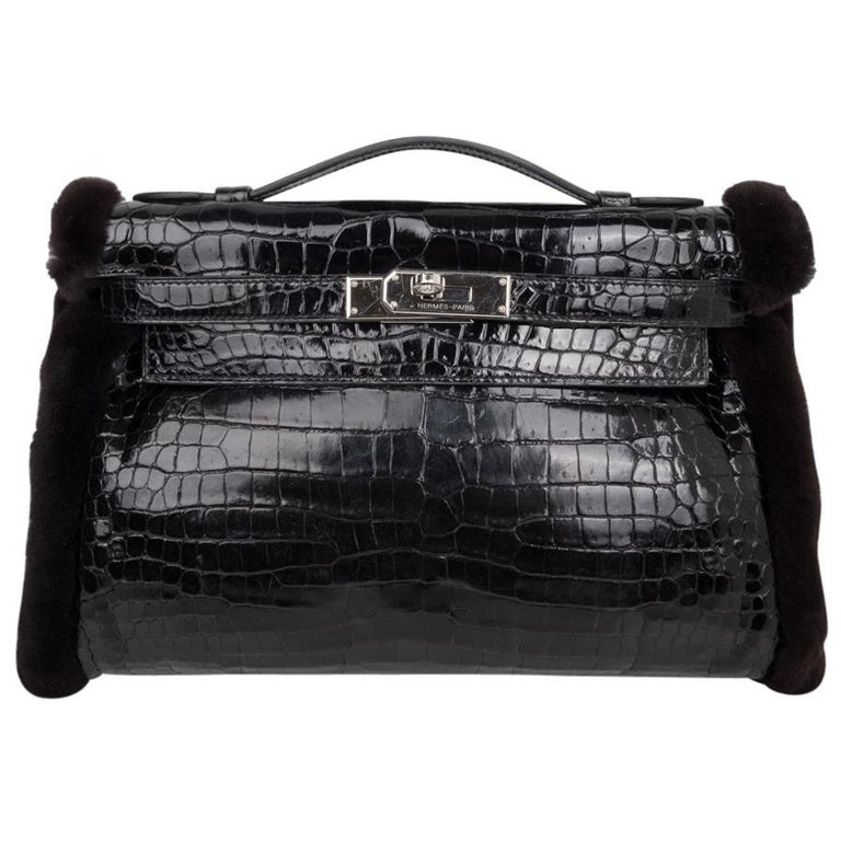 Hermes Kelly Manchon Black Mink and Porosus Crocodile Muff For Sale