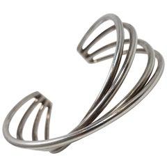 Vintage Signed Georg Jensen Sterling Silver Cuff Bracelet