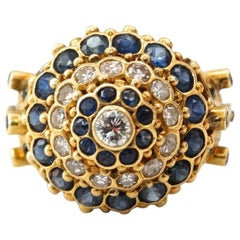 1970s 18K Yellow Gold & Sapphire Princess Ring