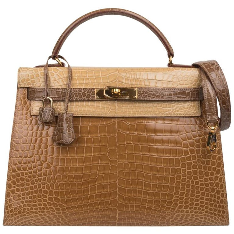 Hermes Kelly Sellier 32 Tri-Colour Porosus Crocodile Poussiere Poudre Ficelle For Sale