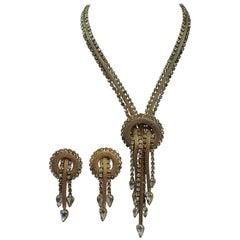 Vintage Retro Drop Necklace & Earrings Set