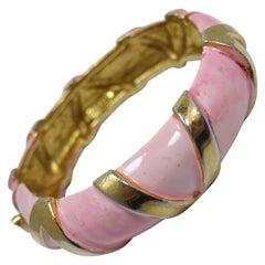 """Vintage Signed """"Original by Robert"""" Pink Coral Enamel Bracelet"""