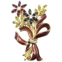 Vintage Signed Monet Multi-Color Crystals and Enameling Floral Brooch