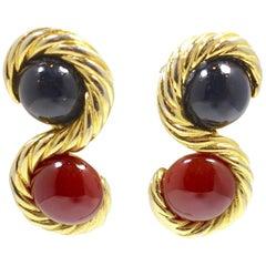Vintage Faux Carnelian & Blue Stone Gold Tone Earrings