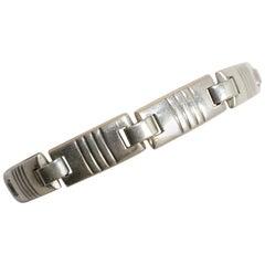 Vintage Signed Sterling Silver Panel Bracelet
