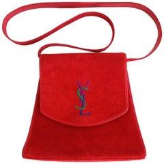 "1980s Yves Saint Laurent ""YSL"" Red Suede Bag"