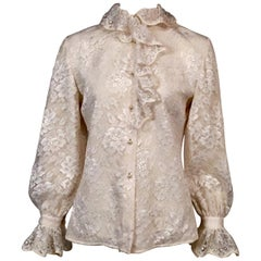 Richard Tyler Blouse White Lace over Silk