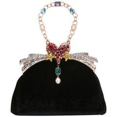 Ming Ray Black Velvet Clutch / Shoulder Bag