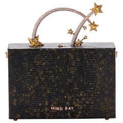 Ming Ray Dione Lizard Black Gold Clutch