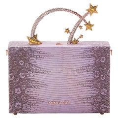 Ming Ray Dione Lizard Lilac Glitter Clutch / Shoulder Bag