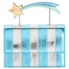 Ming Ray Estella Blaue Silber Clutch / Schultertasche