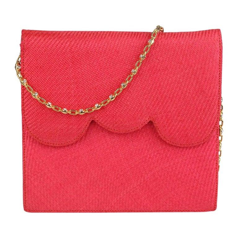 0568f08490c5 Valentino Garavani Night Vintage Hot Pink Raffia Evening Bag For Sale at  1stdibs