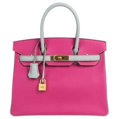 1e110341a770 Hermes Birkin 30 Bag HSS Rose Shocking Gris Perle Chevre Gold Hardware