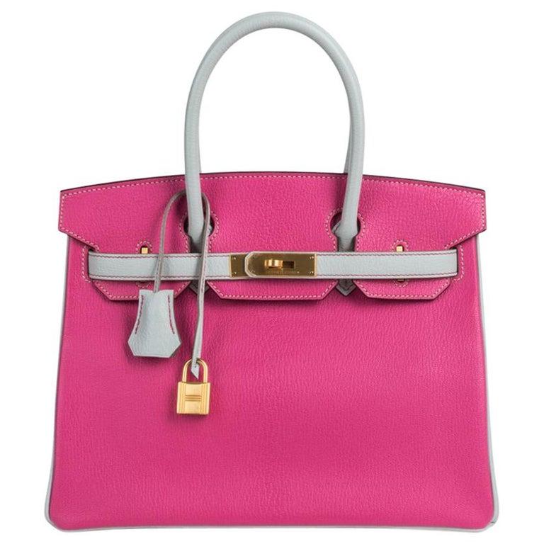 363244306de Hermes Birkin 30 Bag HSS Rose Shocking Gris Perle Chevre Gold Hardware For  Sale