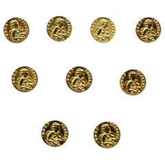 Chanel COCO Goldtone Medium Shank Buttons (Set of 9)